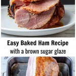 Sliced baked ham over a scored ham in a baking pan.