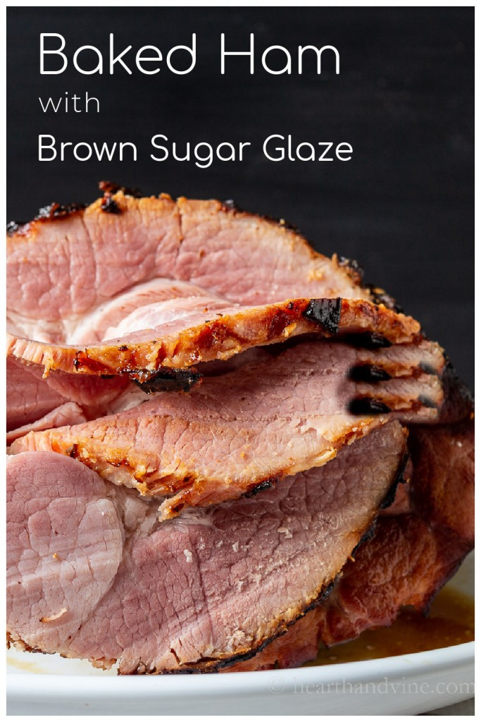 Thickly sliced baked ham with sweet and spicy glaze.