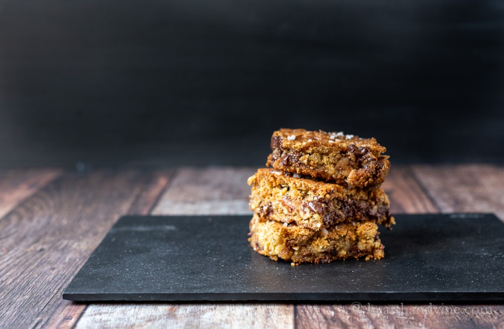 Chocolate oatmeal bars stacked.