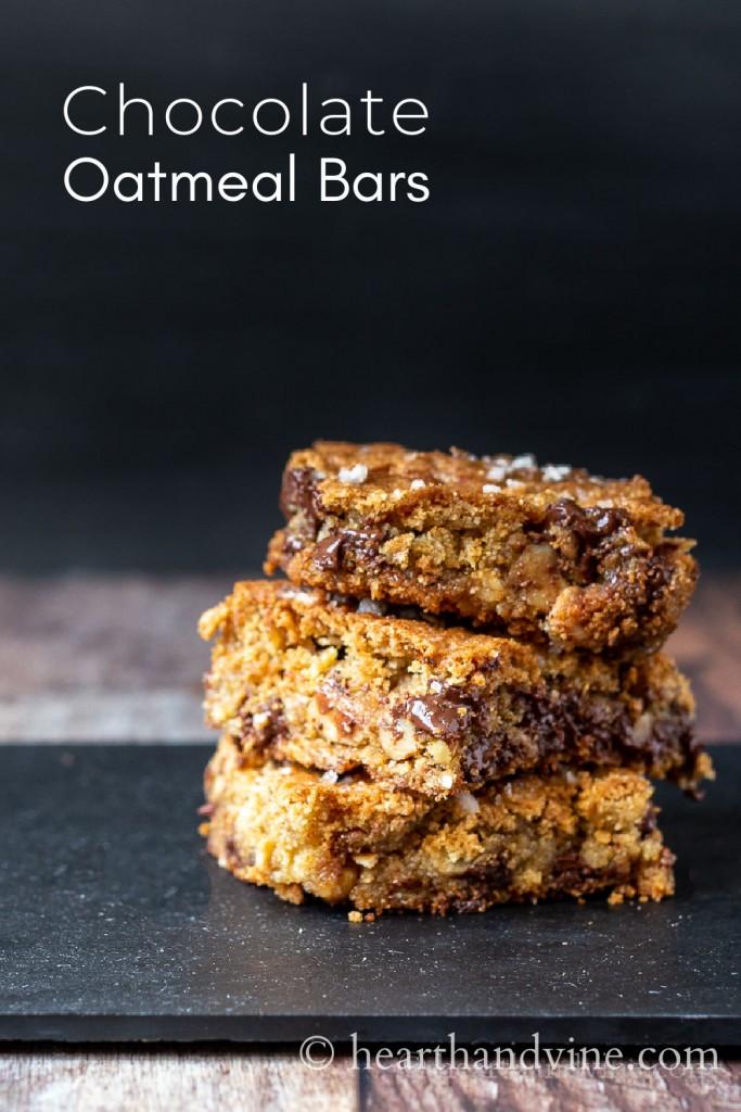 Three oatmeal chocolate bars stacked.