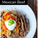 Shredded beef in a bowl with cauliflower rice cheese, tomatoes and sour cream