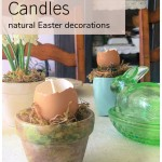 Brown eggshell candle in a small clay pot.