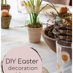 Easter table decorations with a faux nest, spring bulbs and eggshell candles