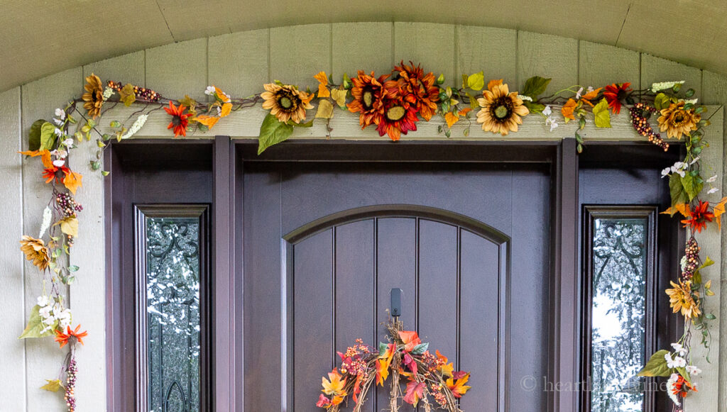 Fall garland with sunflowers