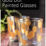 Short glasses with painted gold dots.