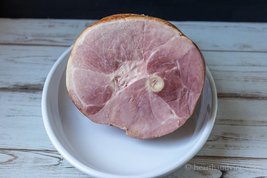 Uncooked semi-boneless ham.