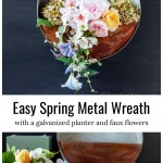 Galvanized hanging planter with spring flower over supplies including a metal planter, flowers, floral foam and sisal rope.