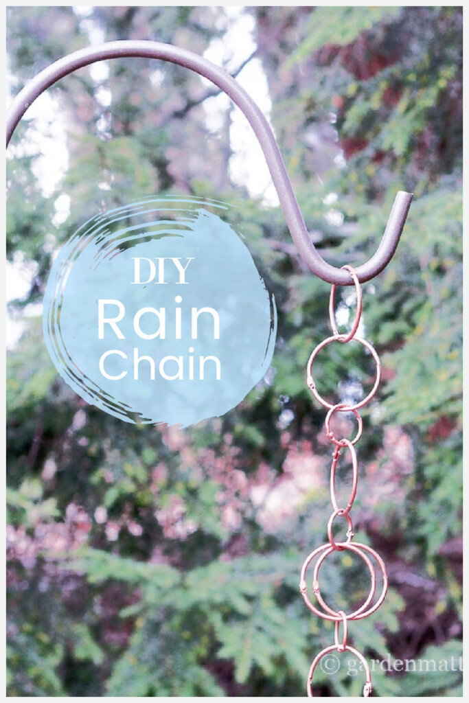 Copper looking rings form a rain chain hanging on a shepherd's hook in the garden.