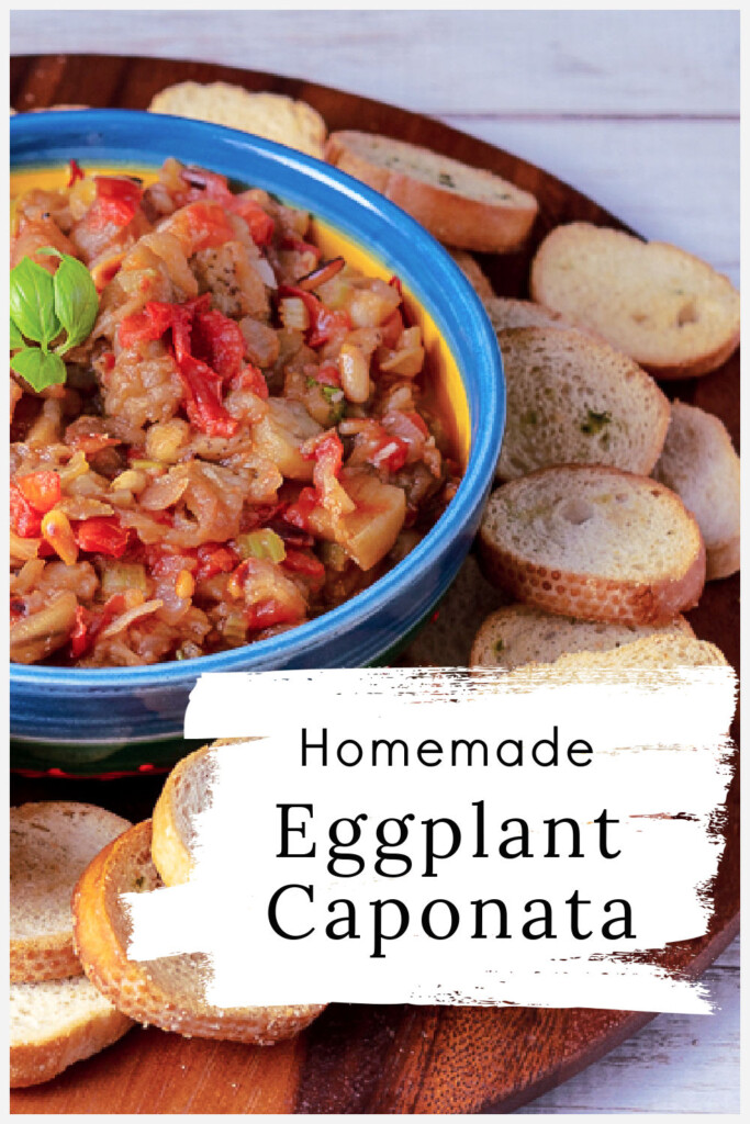Roasted eggplant caponata surrounded by bread rounds.