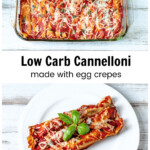 Baking pan of cannelloni over a serving plate of 3 cannelloni
