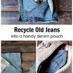 Square denim pouch, assembly pic and the pouch inside a purse.