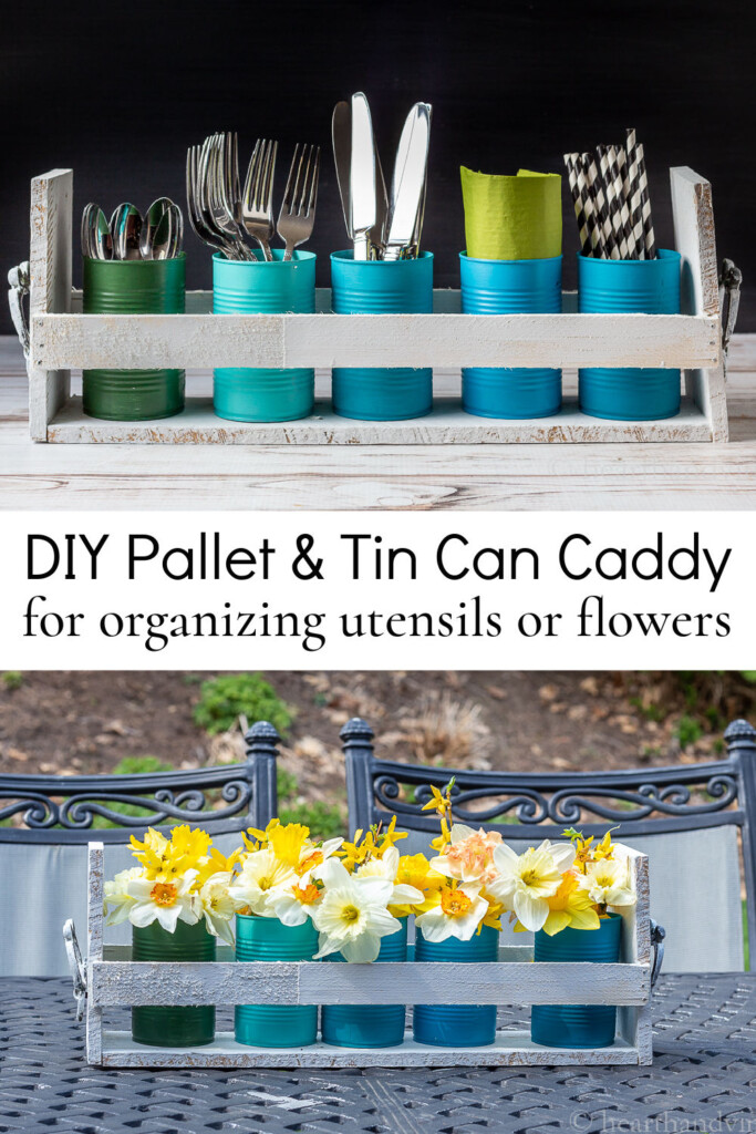 Pallet wood and tin can organizer with utensils, napkins and straws over the same with flowers.