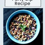 Three bean dip in a blue bowl