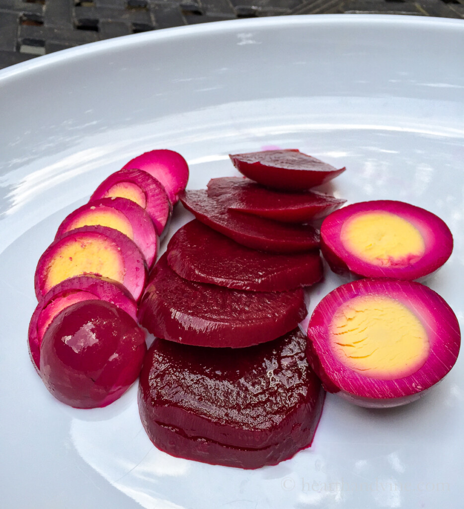 Pickled beets and eggs on a plate.