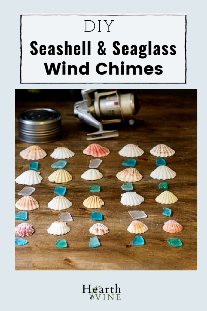 Wind chimes made out of a clam can, seashells and sea glass.