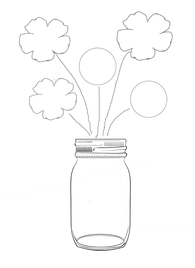 Graphic of mason jar vase with flowers.