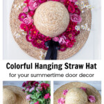 Straw had with pink flowers on a door and two other pics of supplies and partially completed hat.