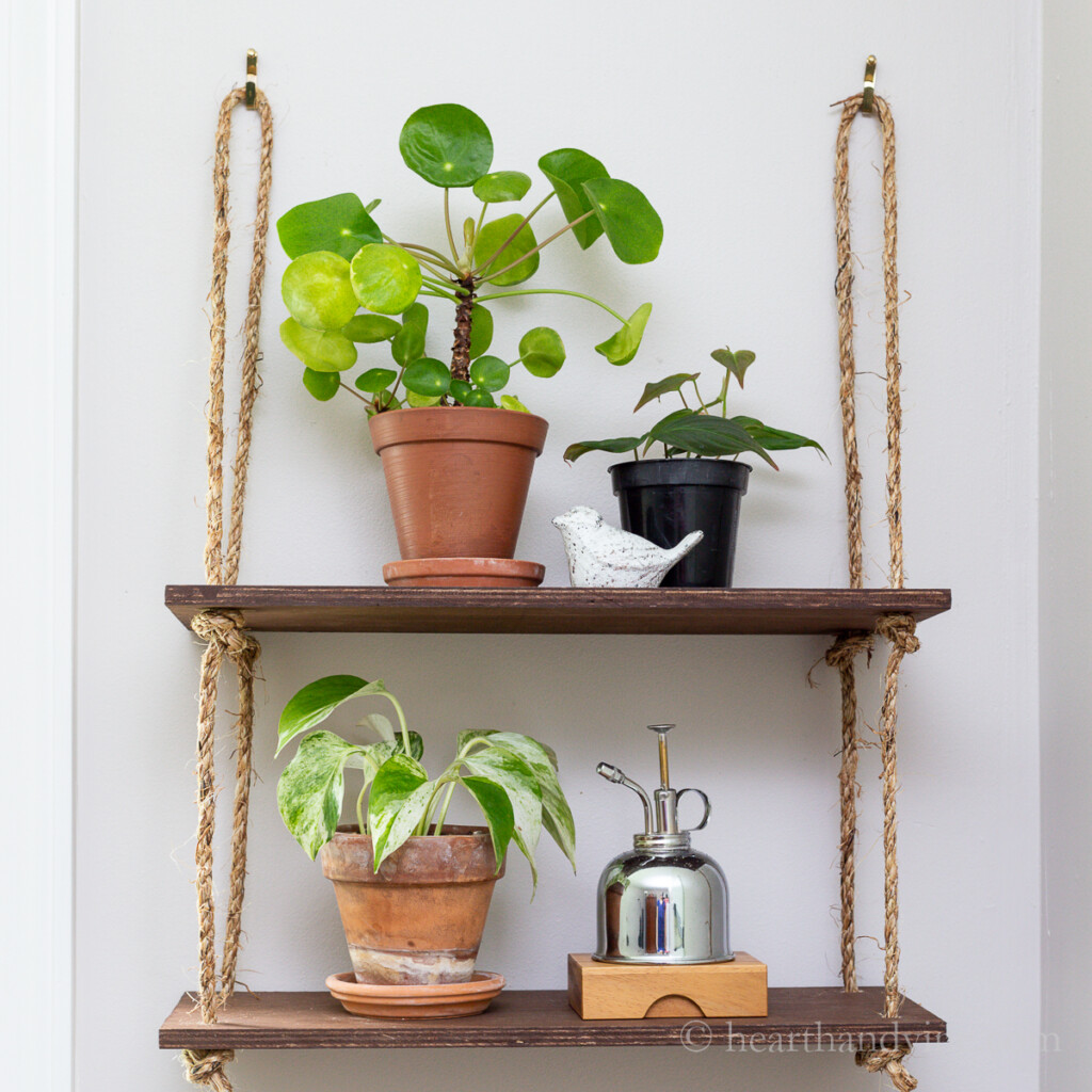 DIY wood hanging rope shelf. Plants and a ceramic bird and a watering can are on the shelves.