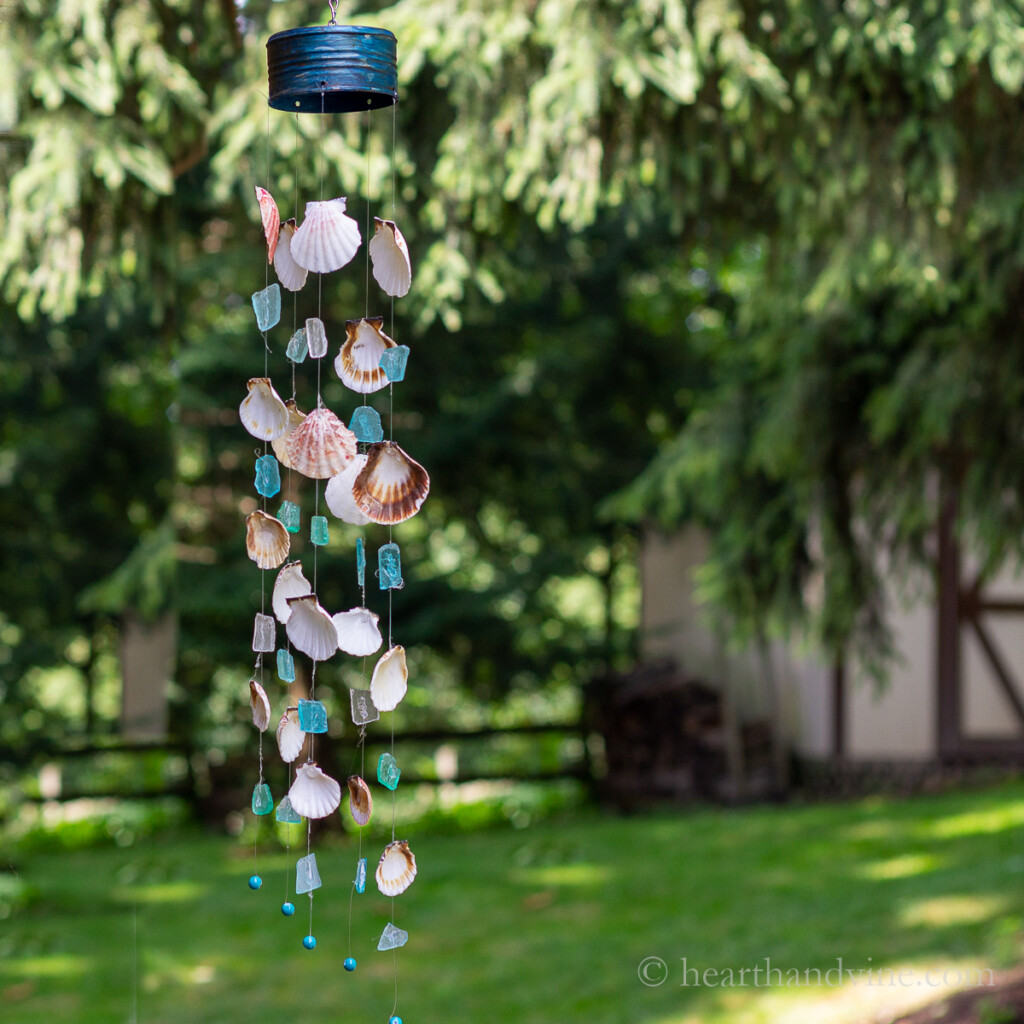 Seashell wind chimes with sea glass and beads.