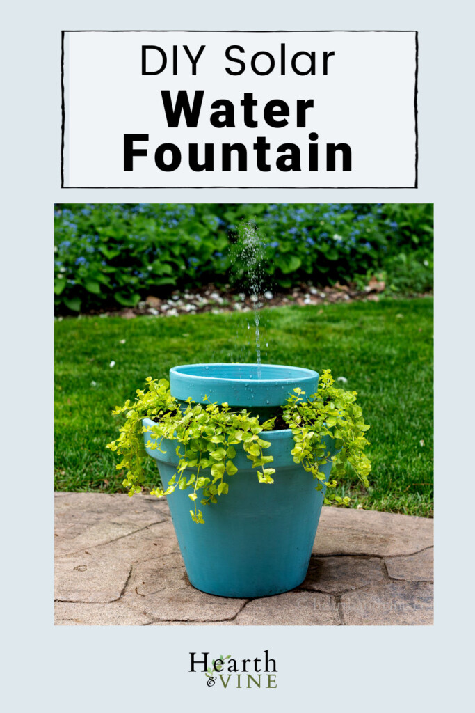 DIY solar water fountain that doubles as a planter from clay pots.