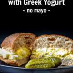 Egg salad with yogurt on a whole grain bun