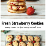 Stack of strawberry cookies over strawberry cookies on a cooling rack.
