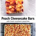 Barra de cheesecake de gengibre e pêssego servindo em uma panela inteira.