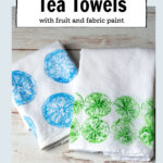 Green and blue fruit printed tea towels
