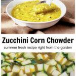 Tigela de sopa de milho abobrinha sobre abobrinha picada fervendo no caldo.