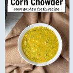 Tigela de sopa de milho abobrinha