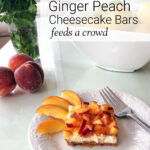 Ginger peach cheesecake serving on plate