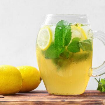 Pitcher of mint tea with lemon