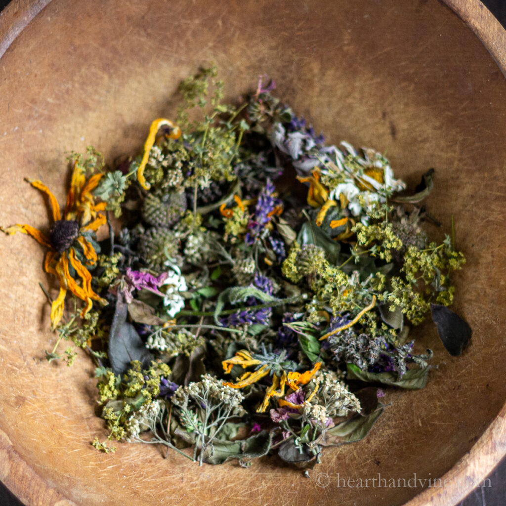Large bowl of dried flower potpourri