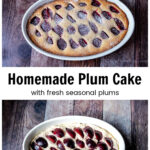 Baked plum cake over the same cake before cooking