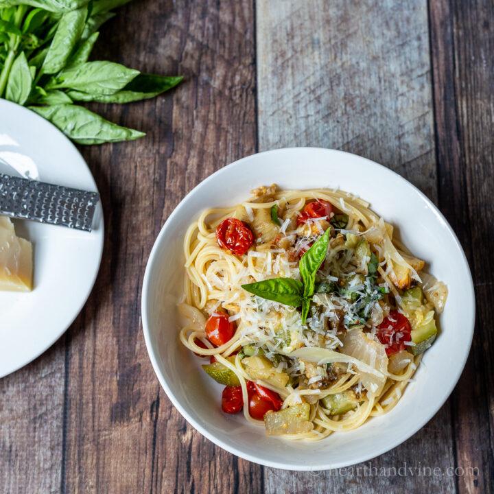Bowl of ratatouille pasta