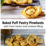Two images. Top is a close up of a puff pastry pinwheel and the bottom shows several pinwheels on a cooling rack.