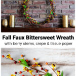 Fall bittersweet wreath on a mantel over a stem of artificial bittersweet berries.