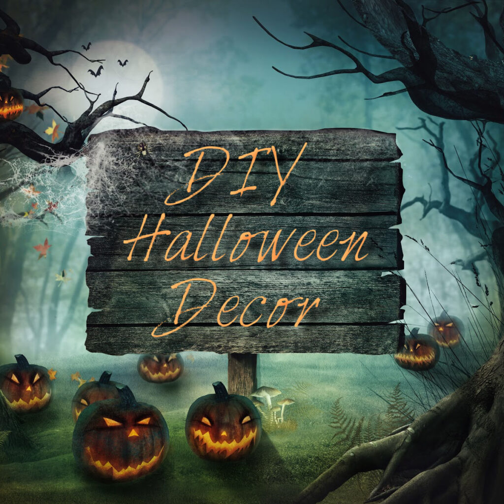 DIY Halloween decor sign in a forest with spooky jack o'lanterns scattered at the base.