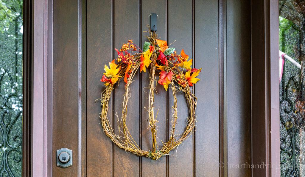 Fall grapevine pumpkin wreath