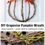 Two images. Top is a grapevine pumpkin wreath and bottom is a floral wire paddle wrapped around grapevine.