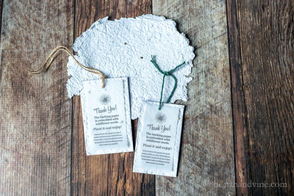 Seed paper and two thank you tags with seed paper backing.