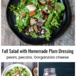 Pear and gorgonzola salad with plum dressing