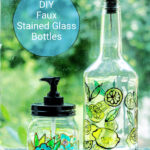 Tall and short bottles with stained glass paint look.