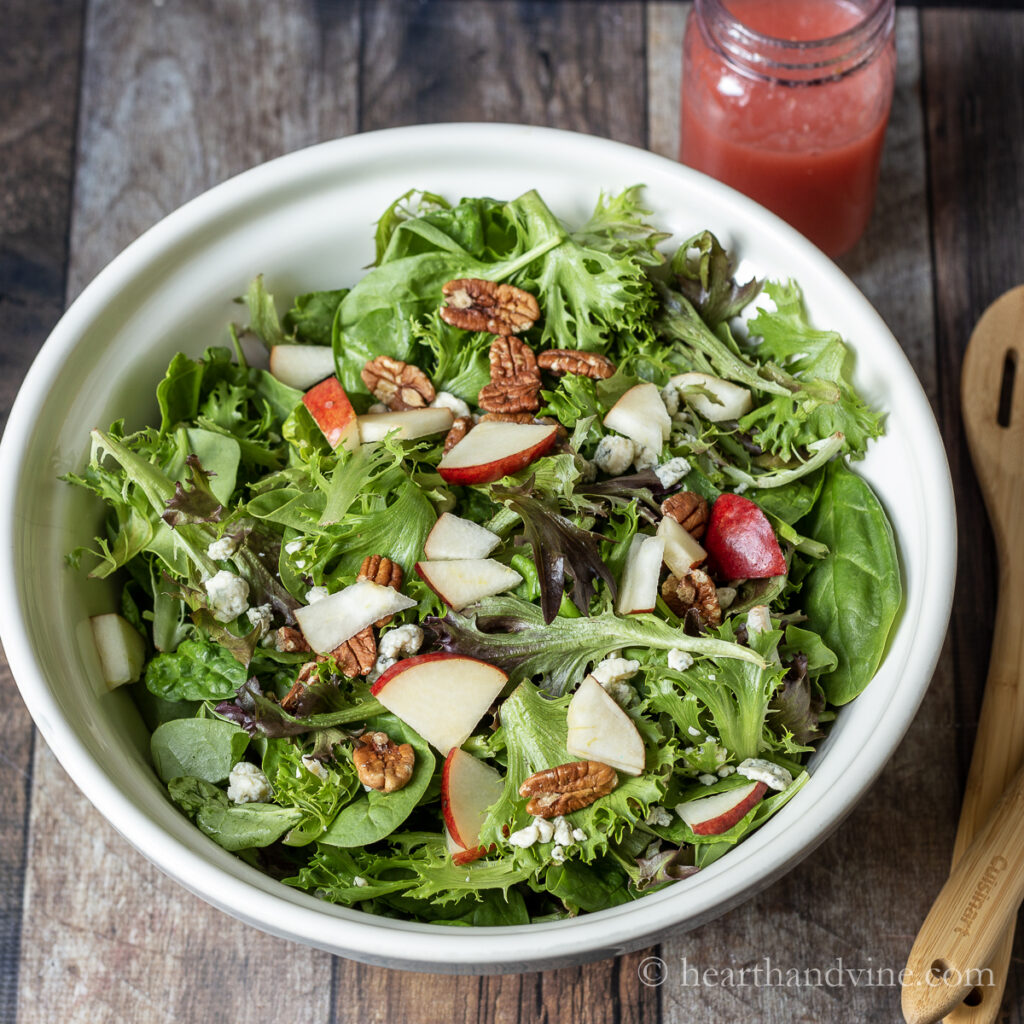 Pear Gorgonzola salad with pecans and a fresh plum dressing.
