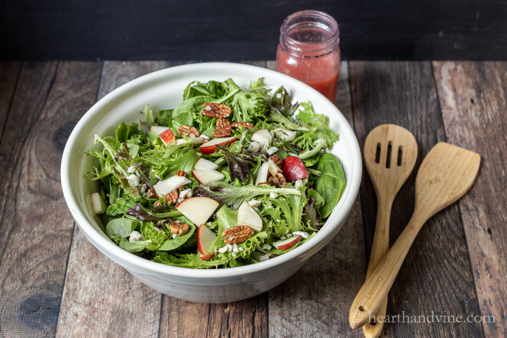 Red pear and gorgonzola cheese with baby greens, and pecans.