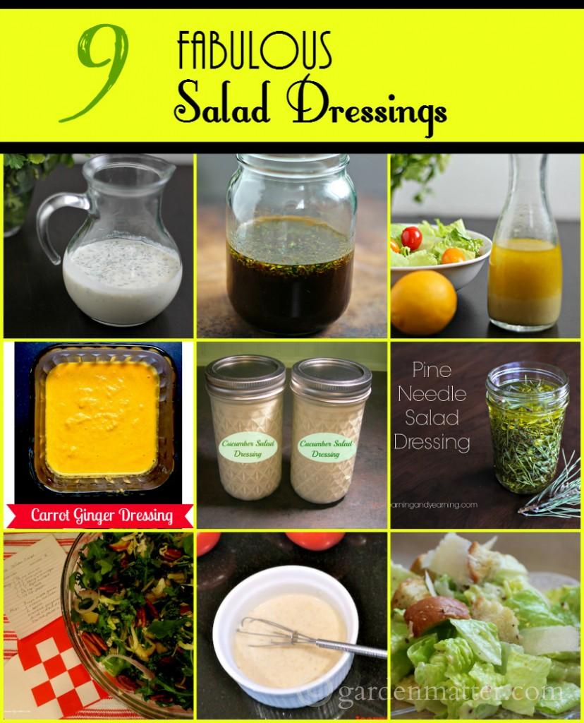 9 salad dressings collage ~gardenmatter.com
