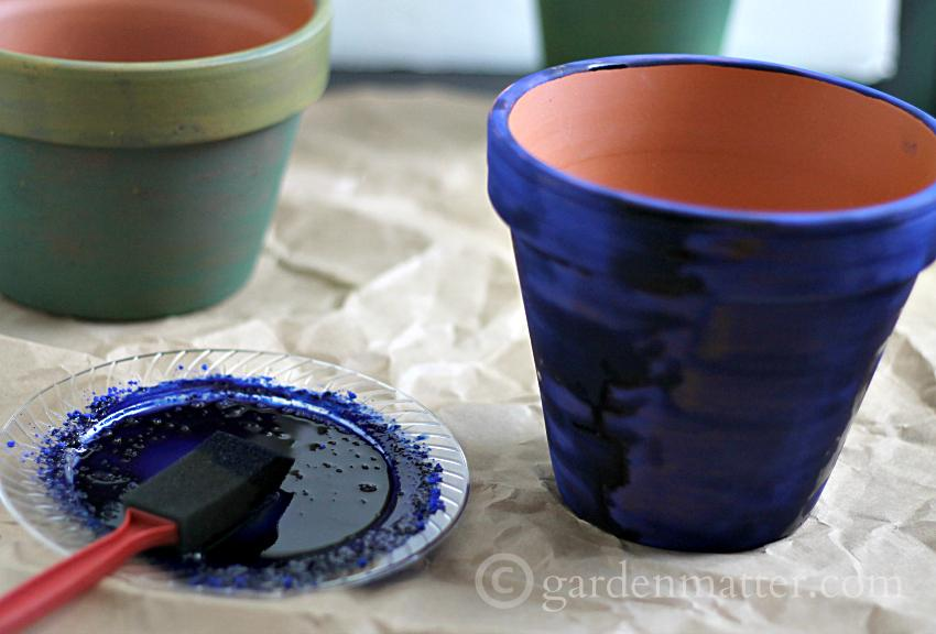 Blue Pigment Painted Pot ~ gardenmatter.com
