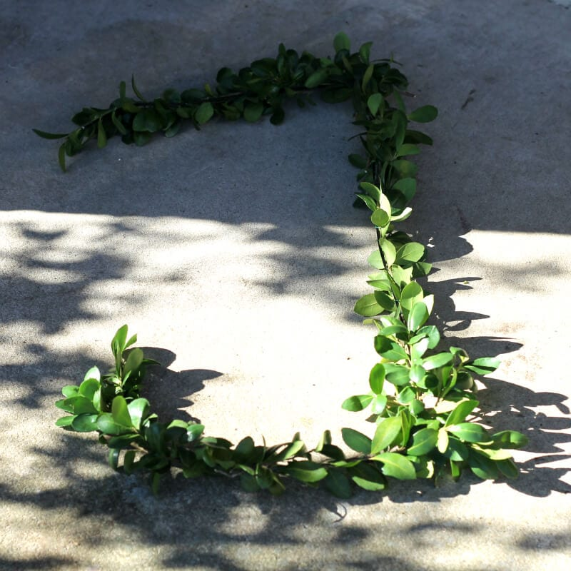 The letter J complete in making wire hanger boxwood letters. ~ gardenmatter.com