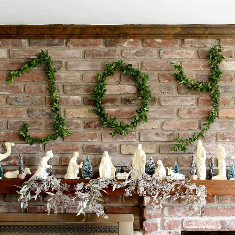 The word Joy complete in making wire hanger boxwood letters. ~ gardenmatter.com