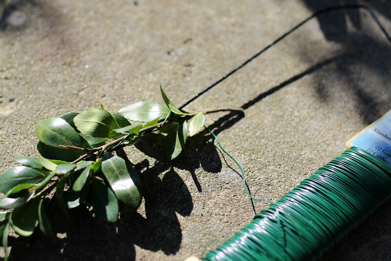 Adding boxwood with floral wire to make wire hanger boxwood letters. ~ gardenmatter.com